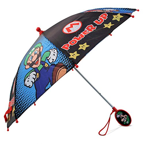Nintendo Boys' Little Mario and Luigi Character Rainwear Umbrellas, black/Blue, Age 3-6