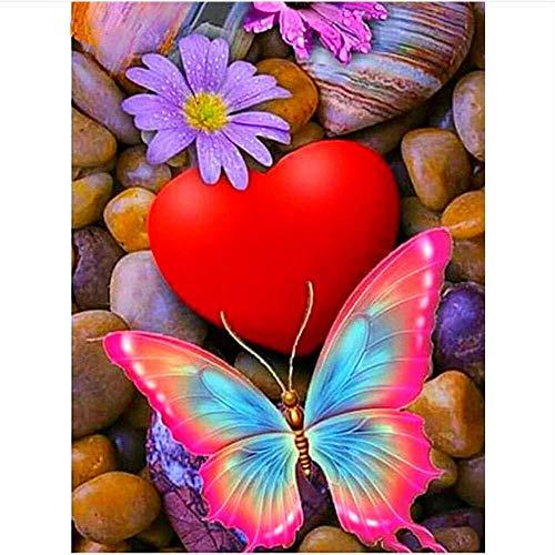 MEEKIS Rotes Herz und Schmetterling DIY Malen nach Zahlen Festival Geschenk für Kind Erwachsene Kits Dekoration Dekor 40x50cm-No Frame