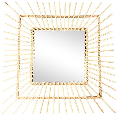 Vierkante rotan wandspiegel met houten deuvels 60cm