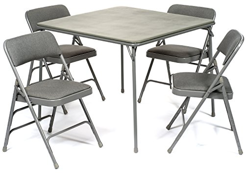 XL Series Folding Card Table and Fabric Padded Chair Set (5pc) - Comfortable Padded Upholstery - Fold Away Design, Quick Storage and Portability - Premium Quality (Grey)