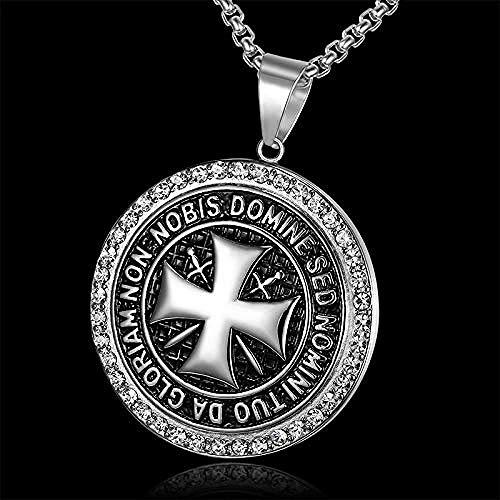BEISUOSIBYW Co.,Ltd Necklace Vintage Knights Templar Pendant Iron Cross Men Necklace 24-Inch Chain Biker Maltese Cross Rhinestone Necklace Punk Jewelry