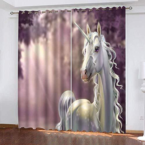 fgjorics Tende Oscuranti 3D Tende Oscuranti per Camera da Letto Unicorno Bianco - Tende per Finestra Termoisolanti Set di Tende 250 (H) X140 (L) Cmx2