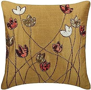 Or Des Coussins Couvrent Pour Canapé, Contemporain Floral Housses De Coussin, 30x30 cm Taie D'Oreiller Jet, Art Silk Paill...