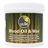 Uulki Cuidado de la madera Natural Cera y Aceite 2 en 1 - para Tabla de cortar, bloque de carnicero, encimera, utensilios de cocina de madera o bambú - de grado alimentario vegano (250 mL)