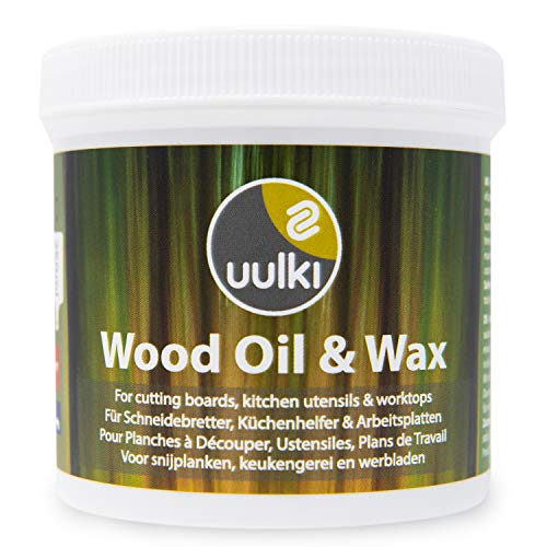 Uulki Natural Wood Wax Oil 2-in-1 for Cutting Board, Butcher Block, Worktop from Wood or Bamboo - Vegan Foodgrade Chopping Board Care (250 ml)