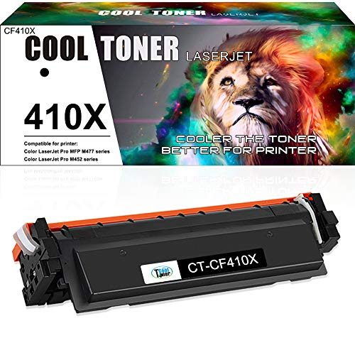 Cool Toner Compatible Toner Cartridge Replacement for HP 410X CF410X 410A CF410A for HP Color Laserjet Pro MFP M477fnw M477fdw M452dn M452nw M452dw M477 M477fdn Printer Toner Ink (Black, 1-Pack)