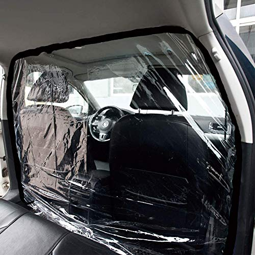 HOTSYSTEM Universal Taxi SUV Isolation Film, Plastic Anti-Fog Qiaoyi Anti-Droplet Full Surround Protective Cover, Protector for Cab Front and Rear Row (Transparent, 1.5mx2m)