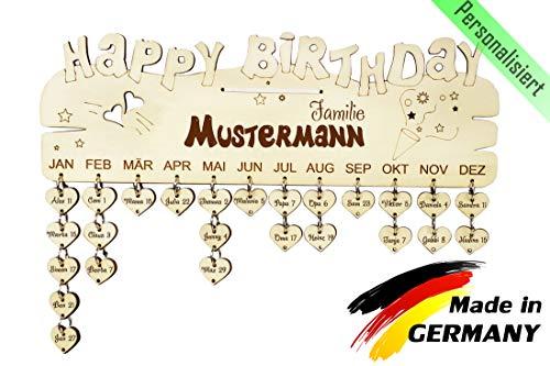 PISDEZ Geburtstagskalender Jahresunabhängig Holz Geschenke zum Selbst-gestalten DIY Kalender Immerwährend Jahre, Zahlen und Datum (Geburtstagskalender - Personalisiert)