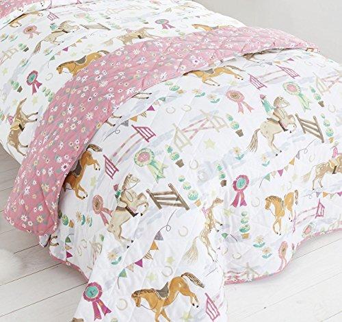 Pferde Tiere Mädchen gesteppt Dekorative Luxus Kinder Überwurf Bettüberwurf New