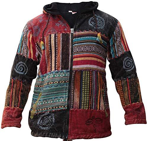 SHOPOHOLIC FASHION Unisexe Patchwork Hippie Festival Capuche Veste - Multicolore, Multicolore, Large
