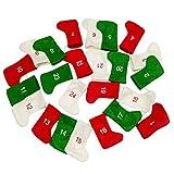 24 piezas de medias de Navidad Calendario de Adviento para llenar Calendario de Navidad para colgar con cordón de calendario de 4,3 m Calcetín de decoración para niños para chimenea, puerta, pared