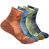 HUSO Men's Women's Stylish Moisture Wicking Arch Compression Ankle Quarter Crazy Socks 4 Pairs (Multicolor, L/XL)