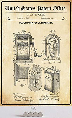 Metalen bord 20 x 30 cm gebogen, incl. 4 magneten patent ontwerp potlood puntenslijper 1916 decoratief geschenk bord