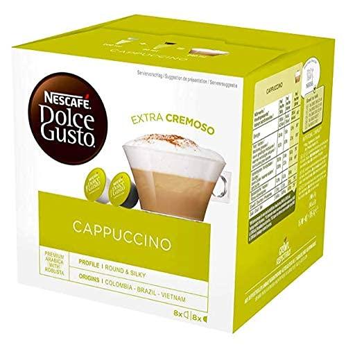 NESCAFÉ Dolce Gusto Cappuccino Arabica i Robusta ziarna kawy pełnomorskiej i luźna pianka mleczna/kapsułki zapieczętowane aromatem/trójpak (3 x 16 kapsułek)
