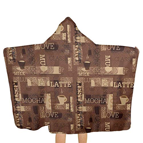 qisile Toalla de bano Cafeteria Pattern with Hot Mocha Latte Milk Hooded Beach Towels,Pool Bath Towel Soft Microfiber Multi-Purpose Poncho Swim Cover Changing Robe Fun Multi-Use For Bath Shower Pool