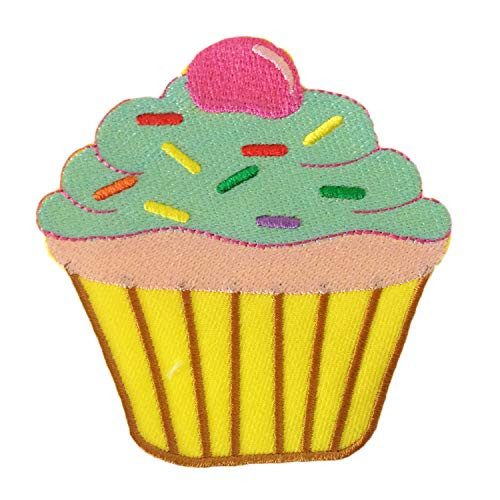 Cupcake Brown Green Sweet Dessert Red Cherry Sew on or Iron on Patches Embroidered Applique Craft Accessory for decorate your Clothes Jeans Tshirt Jacket Pant Bag Backpack Hat for Men Women Boys Girl