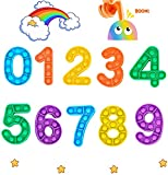 specool Nummer Fidget Toy, Push Bubble Fidget Sensory Dimple Toy Set, 0-9 Silikon Zahlen Lernen Lernspielzeug Farberkennungsspiel Mini Zappeln Antistress Spielzeug Pack für Kinder Babys Vorschule