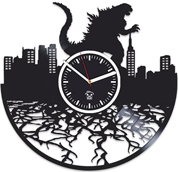 Kovides Godzilla Movies Vinyl Wall Clock Vinyl Record Godzilla Clock For Boy Birthday Gift For Kids Handmade Best Gift For Husband Wall Clock Large