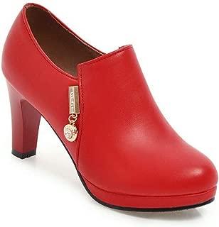 BalaMasa Womens Chunky Heels Electroplate Heel Zipper Urethane Pumps Shoes ABL11107