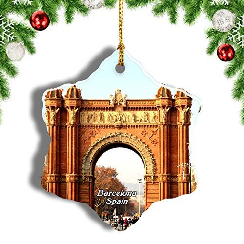 Weekino España Arco del Triunfo Barcelona Decoración de Navidad Árbol de Navidad Adorno Colgante Ciudad Viaje Porcelana Colección de Recuerdos 3 Pulgadas