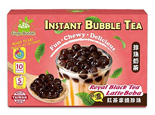 Gogo Bubble Royal Black Tea Latte Boba Instant Bubble Tea Kit (5 / Pack) The Ultimate DIY Boba / Bubble Tea Kit, 5 Drinks, 5 Tapioca Pearls Packets (60g Each), 5 Straws, Complete Set (1 Box)