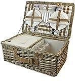 HappyPicnic Somerset - Cesta de mimbre para picnic (4 personas, con...