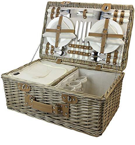 HappyPicnic - Cesta de pícnic de sauce (mimbre, compartimento aislado), para 4 personas, color gris