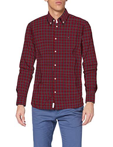 Tommy Hilfiger Herren Slim Small Tartan Check Shirt Hemd, Arizona Red/Multi, XL
