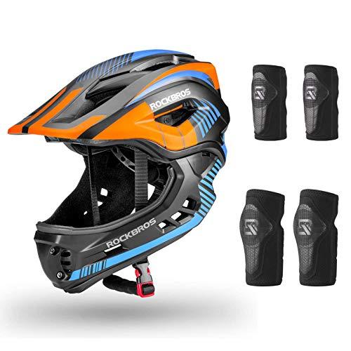 ROCKBROS Casco Integral para Niños de Bicicleta MTB BMX Casco Desmontable Ajustable 48-58CM para 3-15 Años (Casco-M+Rodilleras+Coderas)
