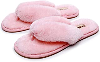 FAYUEKEY Comfort Spa Flip Flops Thong Slide for Women Girls Sexy Fuzzy Bedroom House Slippers with Memory Foam