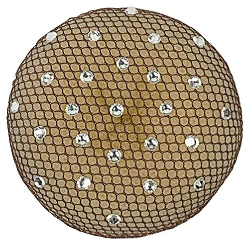 Haarnetz mit Strasssteinen in Crystal (braun)