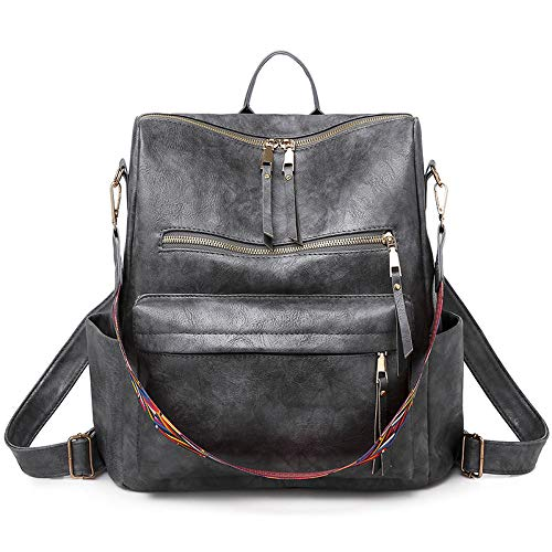 CMZ Backpack Large-Capacity Bag Female Fashion Simple Women's Shoulder Bag Retro PU Female Bag Student Solid Color School Bag