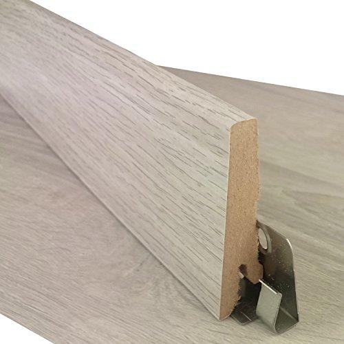 Sockelleiste für TRECOR® Klick Vinylboden - Länge: 240 cm - Höhe: 60 mm - Tiefe: 18 mm - WASSERFEST - (Sockelleiste | 1 Stück, Wintereiche)