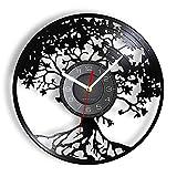 Árbol de la Vida Vinilo LP Reloj de Pared con Registro árbol genealógico decoración del hogar árbol Celta Disco de Vinilo artesanías Reloj de Pared de Cuarzo