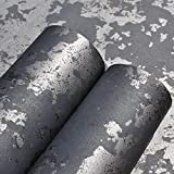 Black and Silver Texture Texture Solid Color Wallpaper Rotolo Decorazione Della Casa Soggiorno Sfondo ufficio Sfondo in calcestruzzo Sfondo industriale-ZS00101_10mx53cm.