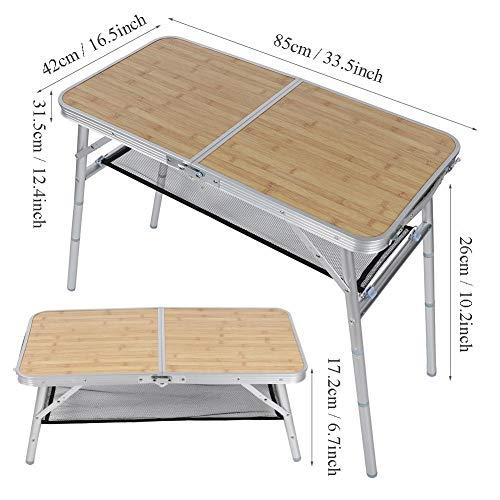 Xinwoer Mesa plegable a prueba de humedad, aleación de aluminio para acampar al aire libre, mesa plegable para barbacoa, picnic, pipa de metal, escritorio plegable para uso de viaje