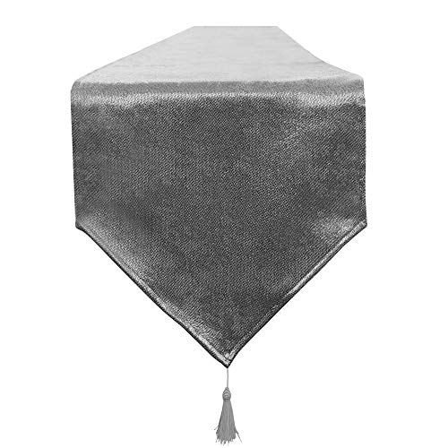 Balcon & Falcon - Camino de mesa impermeable moderno antimanchas para muebles con pompones para casa, fiestas de Navidad, restaurantes (gris, 35 x 240 cm)