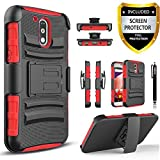 Moto G4 Play Case, Moto G Play Case, Circlemalls[Combo Holster] Built-in Kickstand Bundled with [Premium Screen Protector] Shockproof for Motorola Moto G Play/Moto G4 Play(Red)