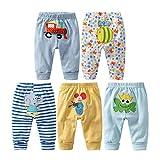 Leggings de algodón unisex para recién nacido y niños pequeños, de Monvecle Multicolor Paquete de 5 pantalones largos para niño. 6-9 Meses