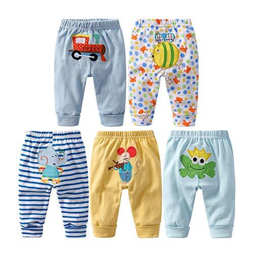 Leggings de algodón unisex para recién nacido y niños pequeños, de Monvecle Multicolor Paquete de 5 pantalones largos para niño. 9-12 Meses