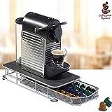 Bakaji Contenitore Porta Capsule e Cialde Caffè Nespresso Nescafè Lavazza In Metallo Cassetto Estraibile Silver e Top Nero (36 x 28 x 7,5 cm.)