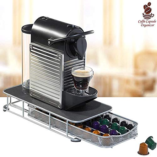 Bakaji - Contenedor para cápsulas de café Nespresso Nescafè Lavazza de metal, cajón extraíble plateado y parte superior negra (36 x 28 x 7,5 cm)