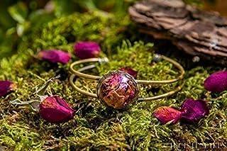 Braccialetto di petali di rose Rosse - fiori asciugati naturalmente - 20 mm - regalo originale - Regalo San Valentino