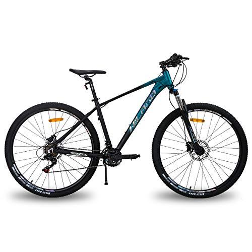 Hiland Mountain bike in alluminio da 29 pollici, freni a disco idraulici a 16 velocità, con forcella ammortizzata Lock-Out blu
