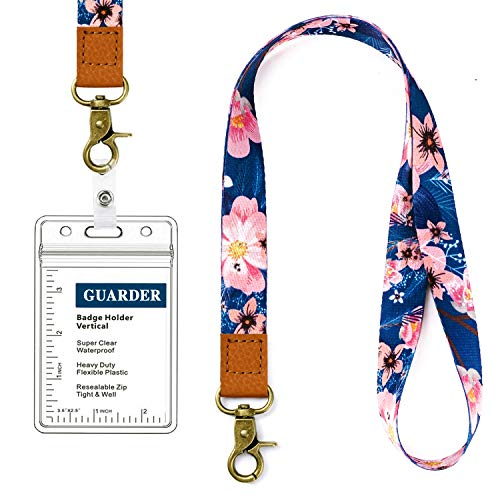Lanyard with id Holder Cute lanyards for Women Lanyard for Keys id Badge Holder (Dark Blue Flowers)