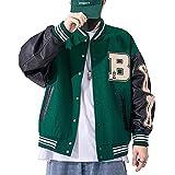 Moshtashio Chaqueta de Béisbol para Hombre Chaqueta Universitaria Deportiva Abrigos Hombres Mujeres College Jacket Chaqueta de Sudor Clásico Oversized Chaqueta… (Verde, 3XL)