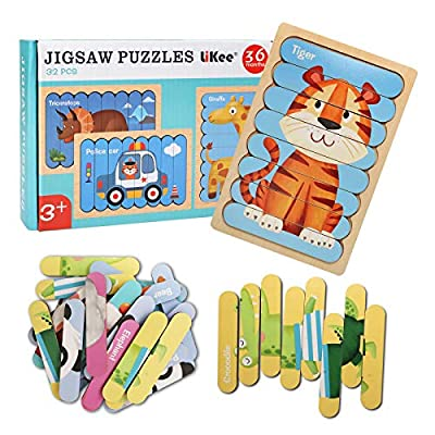 LiKee Animal Wooden Jigsaw Puzzles Pattern Blocks Sorting and Stacking Toys Peg Puzzle Preschool Montessori Educational Toys for Toddlers Kids Boys Girls Age 3+ Years Old (32 Pieces & 8 Patterns) from LiKee