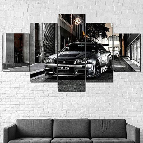 Cuadro En Lienzo 200X100Cm Coche Nissa Skyline Gtr R34 Impresión De 5 Piezas Material Tejido No Tejido Impresión Artística Imagen Gráfica Decor Pared