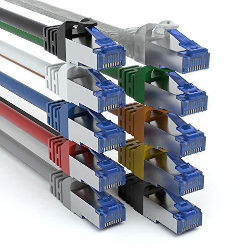 JAMEGA - 10 unidades - 2 m de cable de red Gigabit Ethernet LAN en 9 colores   10.000 Mbit s   Cable de conexión Cat. 7   Cable de red SFTP PIMF blindaje RJ45   Conmutador de módem de acceso