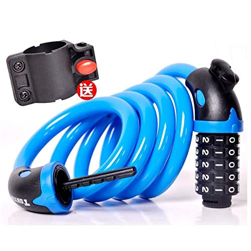 Stalen kabelslot cijferslot driewieler kleine auto ketting ijzeren slot Blauw